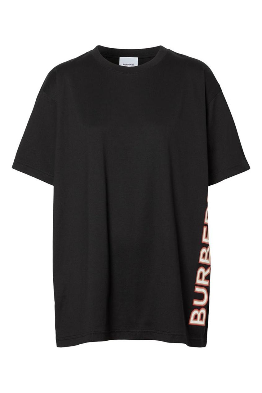 Черная свободная футболка из хлопка с логотипом Burberry черного цвета