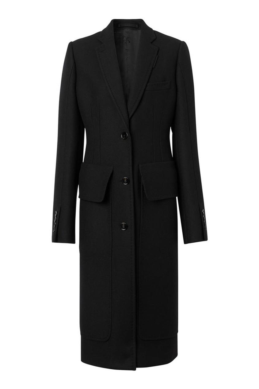 Черное приталенное пальто из шерсти Burberry черного цвета