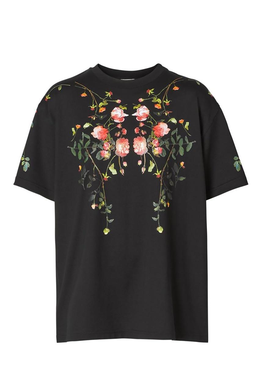 Черная футболка с принтом Rose Burberry черного цвета