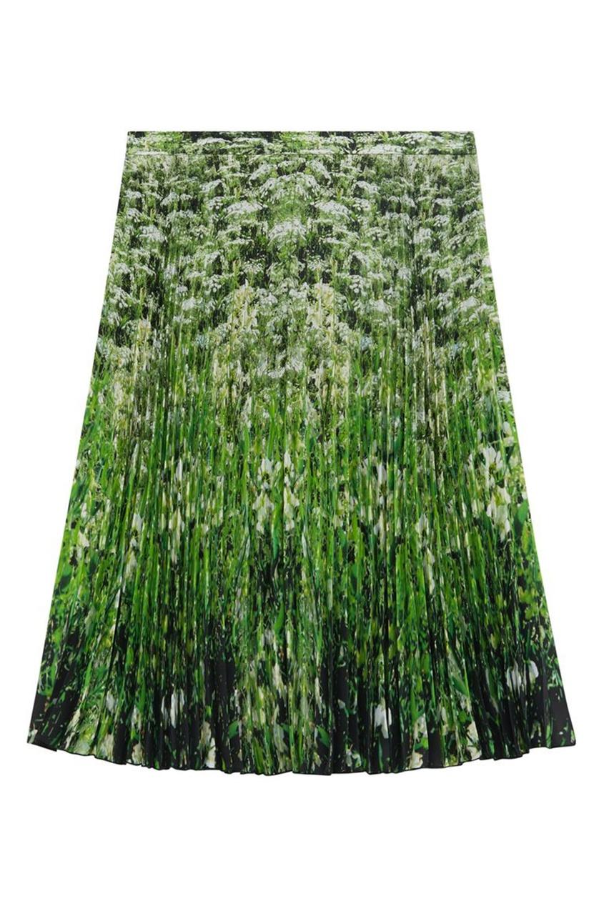 Юбка с плиссировкой и принтом Meadow Burberry белого цвета