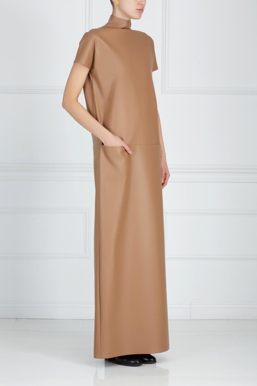 Однотонное платье ARnouveau. Цвет: бежевый