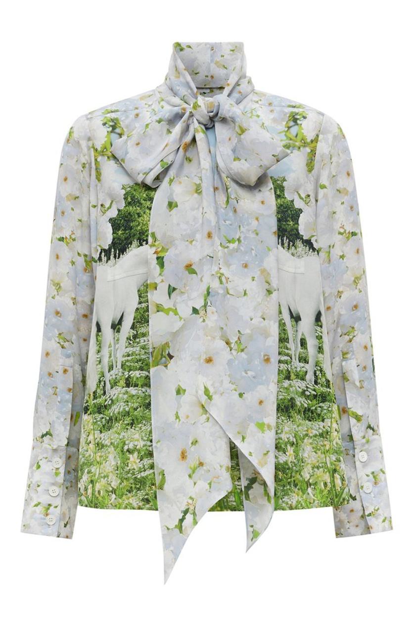 Белая блузка с бантом и принтом Meadow Burberry белого цвета