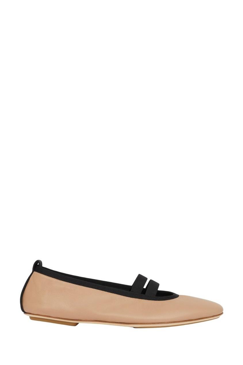 Светло-коричневые кожаные балетки