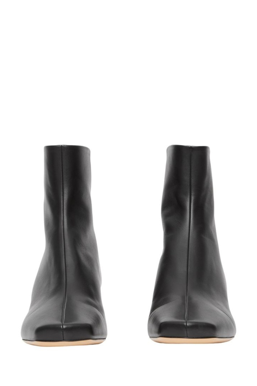 Черные кожаные ботильоны на низком каблуке Burberry Black 10200774