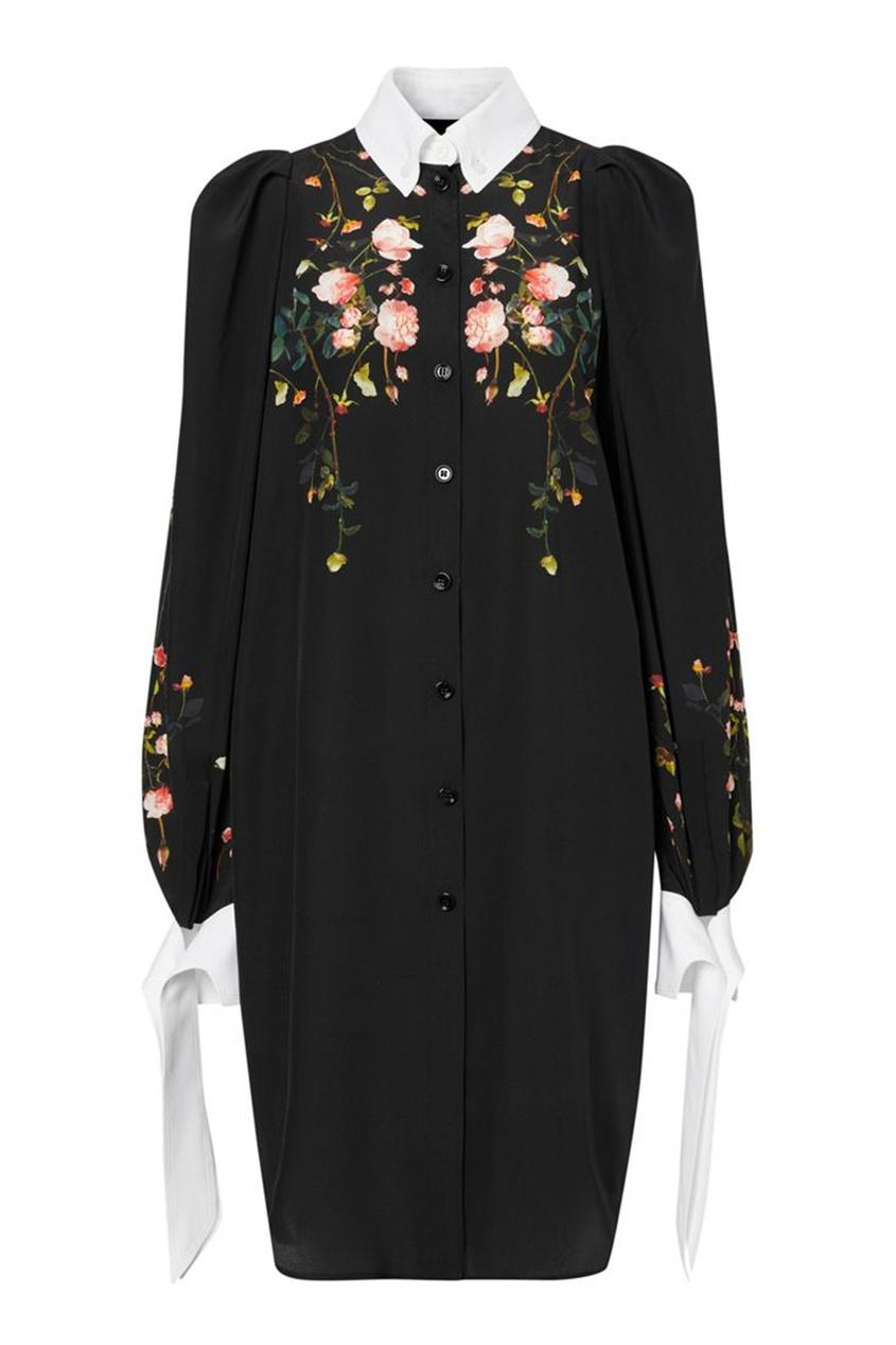 Черное платье-рубашка из шелка с принтом Rose
