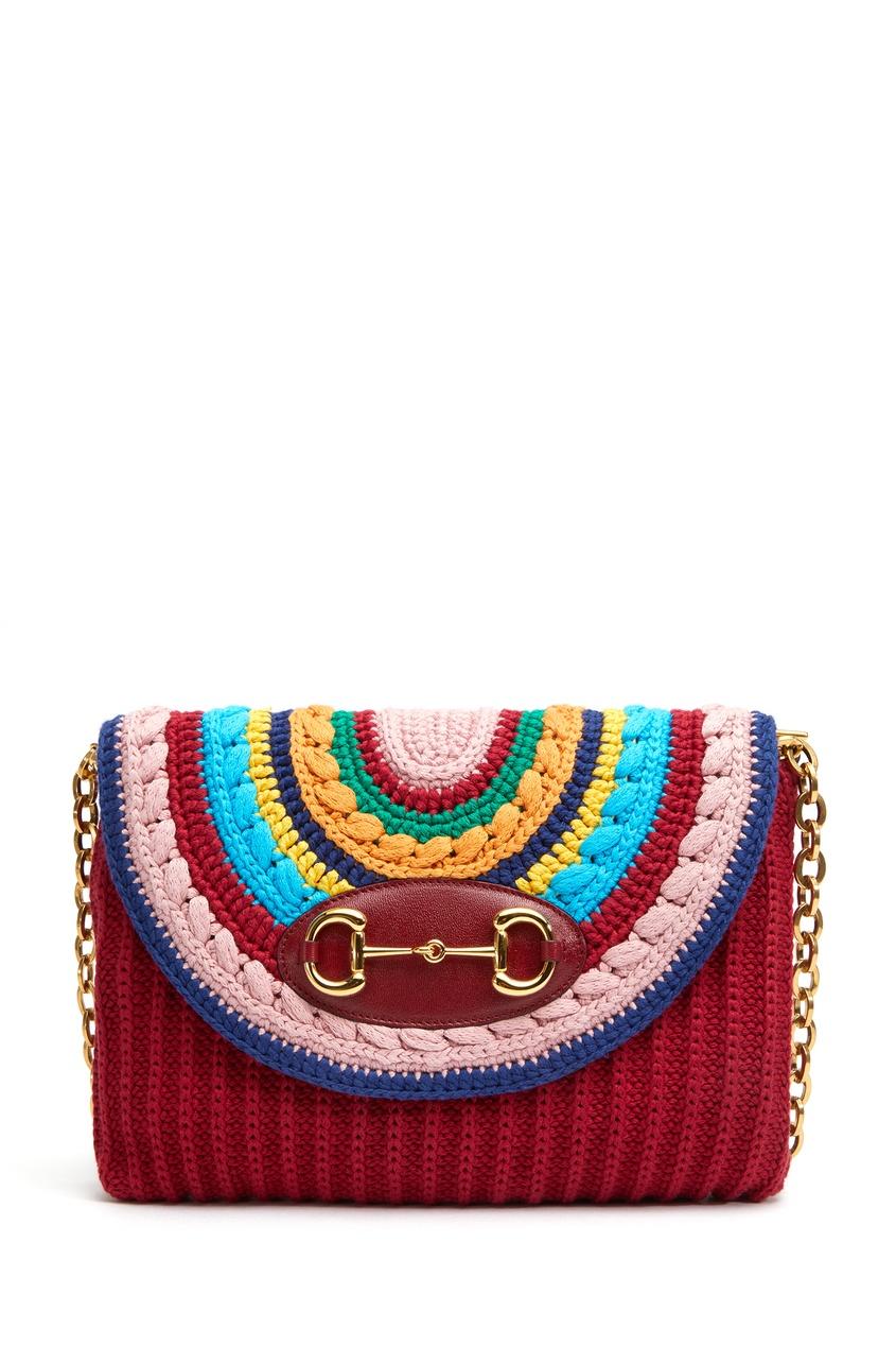Разноцветная вязаная сумка из хлопка Gucci Horsebit 1955
