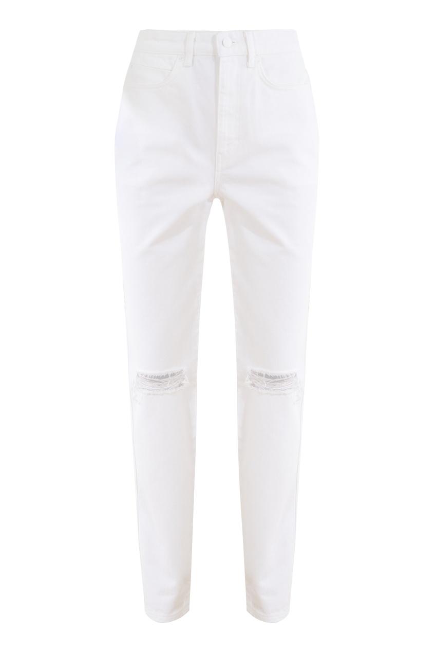 Белые джинсы с разрезами