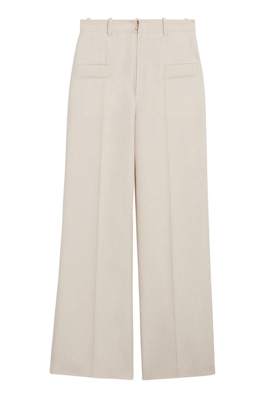 Светло-бежевые широкие брюки