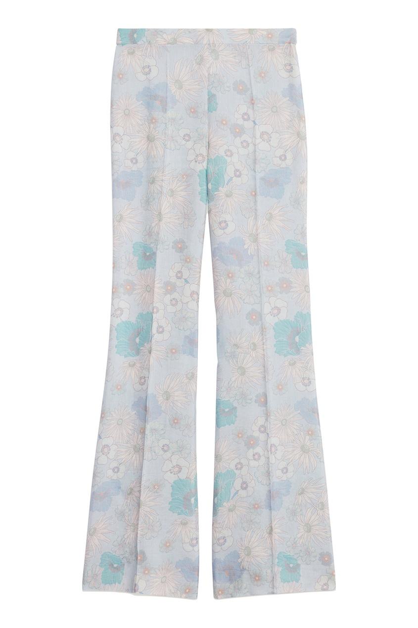 Голубые полупрозрачные брюки с цветочным принтом