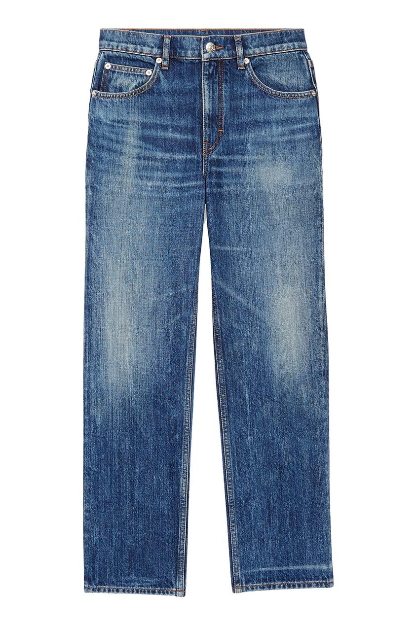Прямые синие джинсы с потертостями