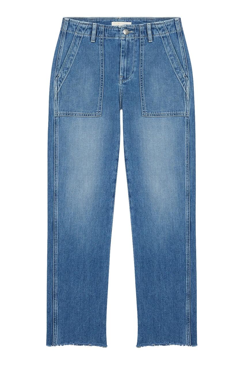 Синие укороченные джинсы с накладными карманами
