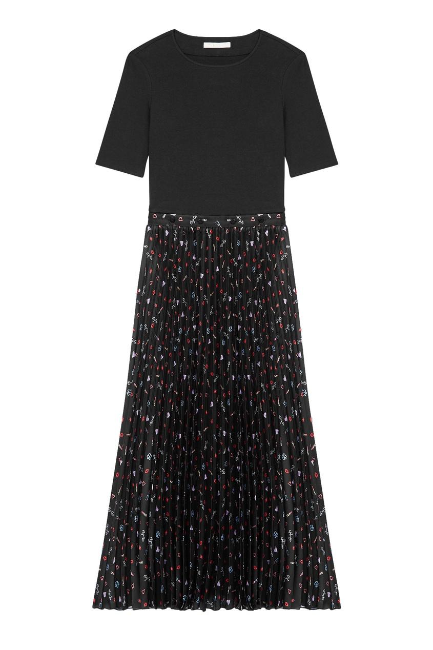 Черное платье с принтом и плиссировкой