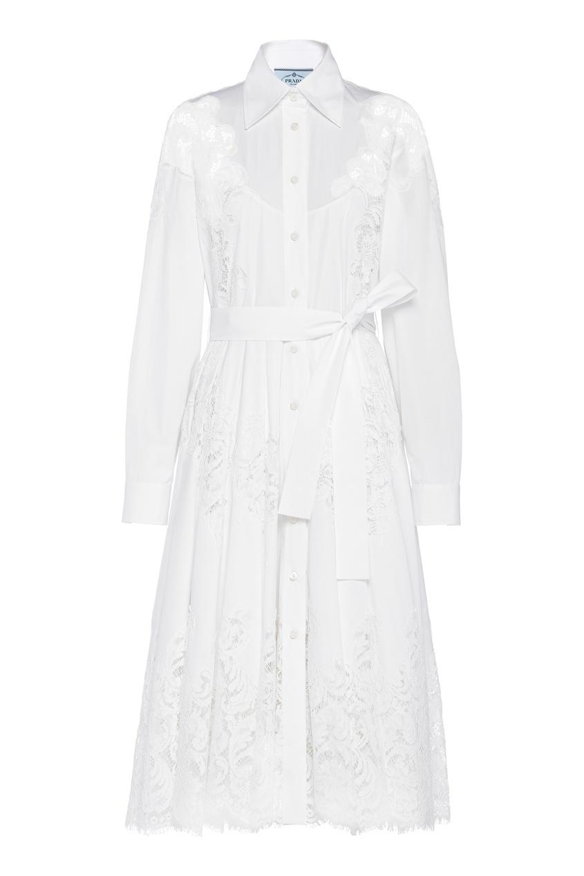 Белое платье-рубашка с гипюровыми вставками
