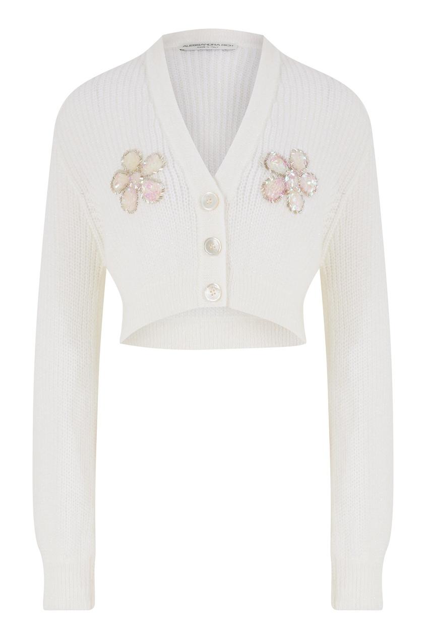 Белый укороченный кардиган с вышивкой