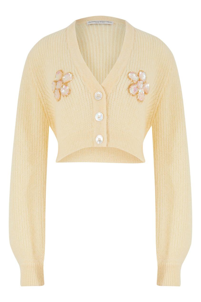 Бледно-желтый укороченный кардиган с вышивкой