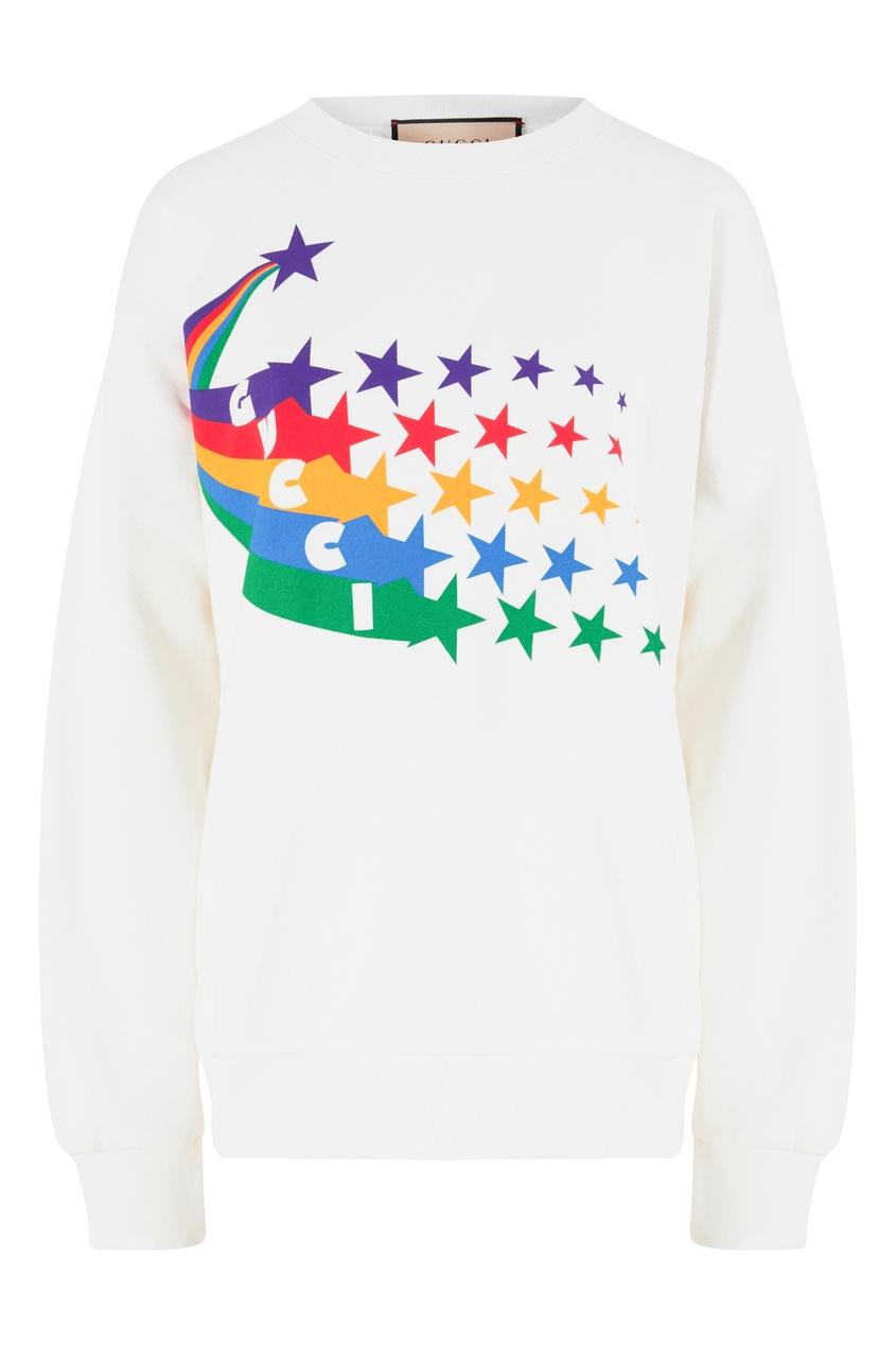 Белый свитшот с разноцветным принтом