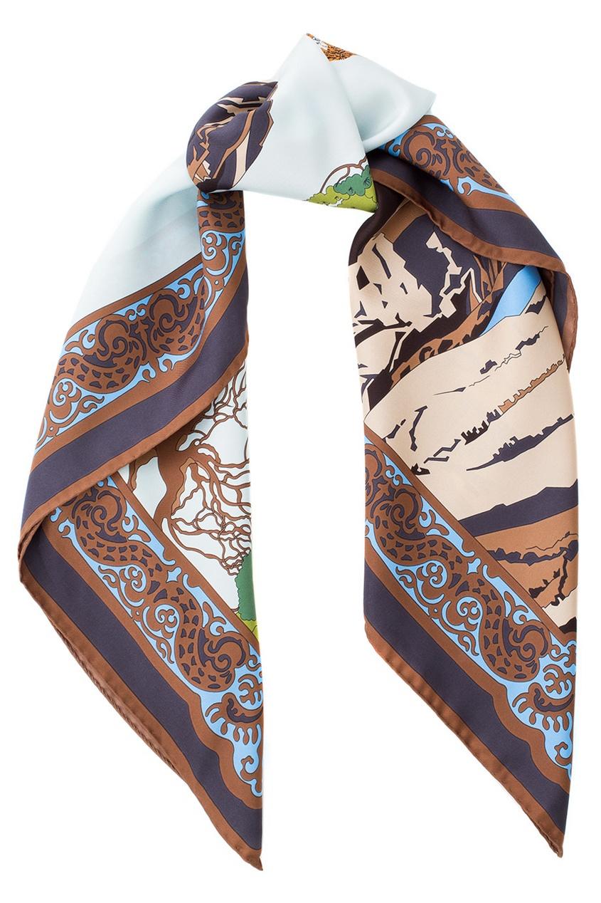 Фото - Шелковый платок от Valentin Yudashkin for Amur Tiger Center коричневого цвета