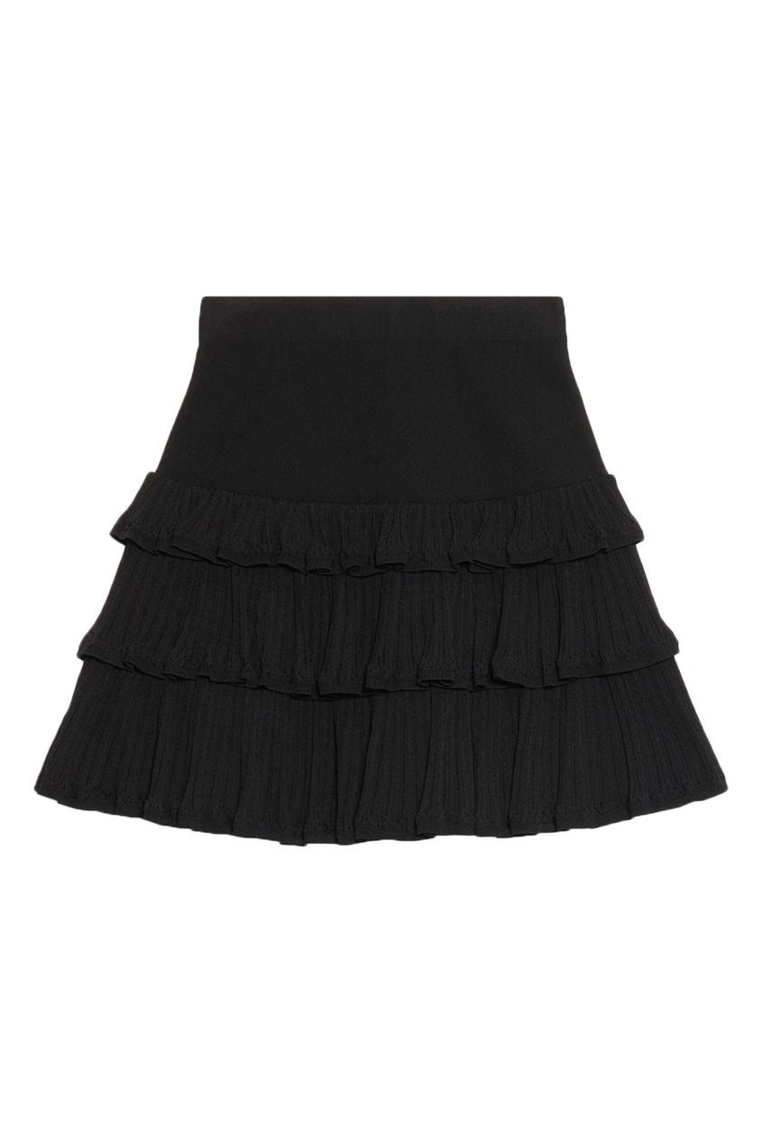 Черная юбка-мини с рюшами