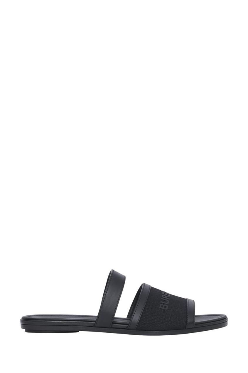 Черные пантолеты из парусины и кожи