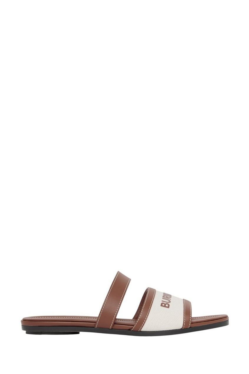 Бежево-коричневые пантолеты из парусины и кожи
