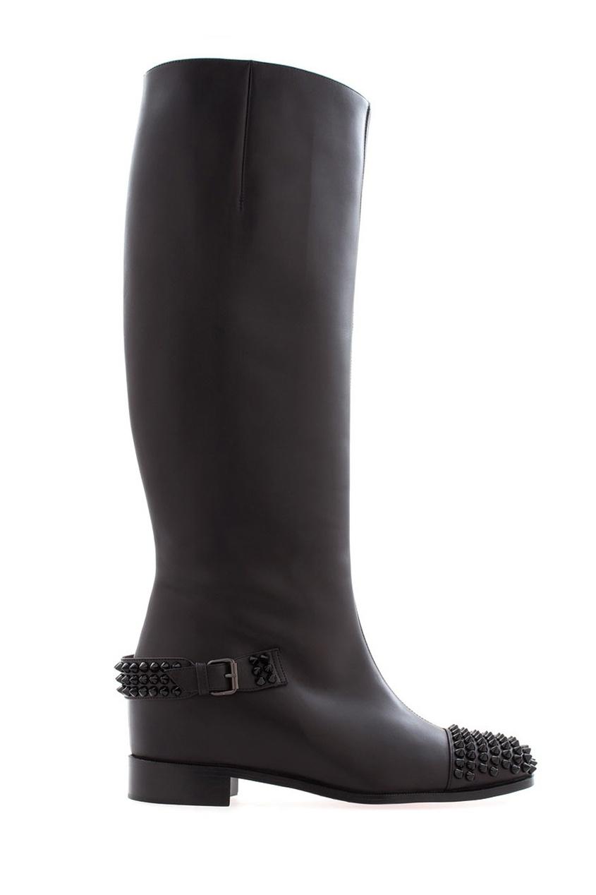 Christian Louboutin Кожаные сапоги Egoutina Flat сапоги кожаные на плоском каблуке 1137