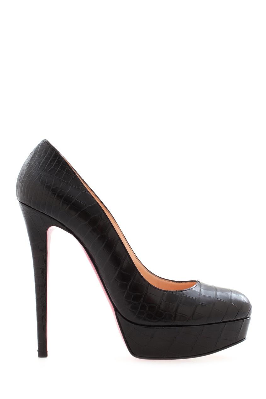 Черные туфли из кожи крокодила Bianca 140 от Christian Louboutin