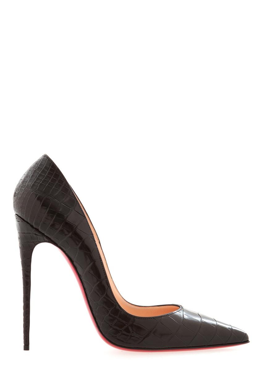 Черные туфли из кожи крокодила So Kate 120 Christian Louboutin