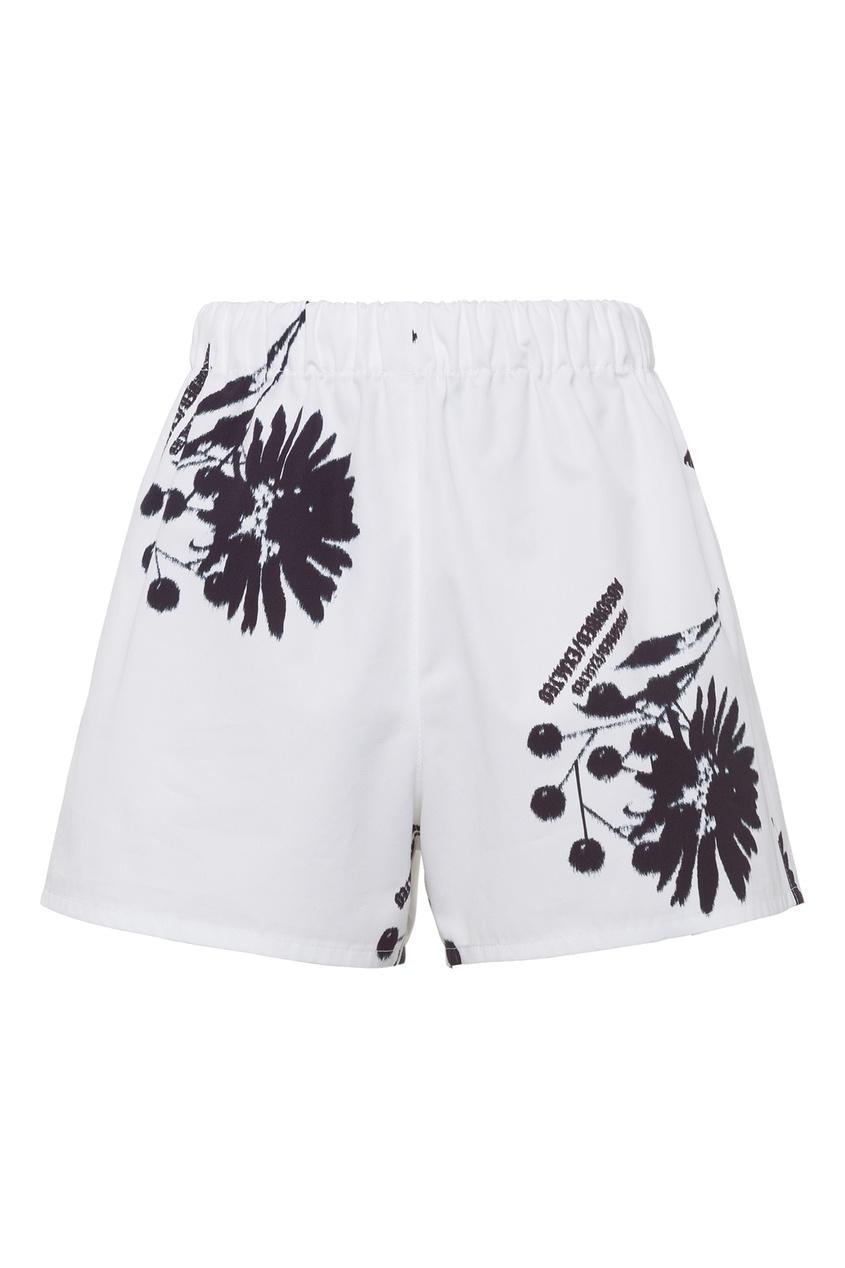 Бело-черные шорты с принтом Prada разноцветного цвета