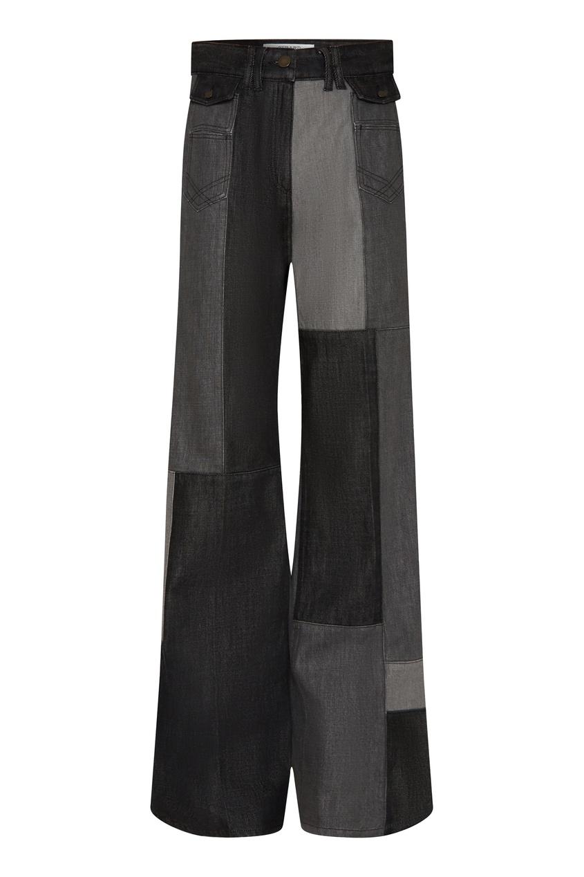 Серые джинсы в стиле пэчворк