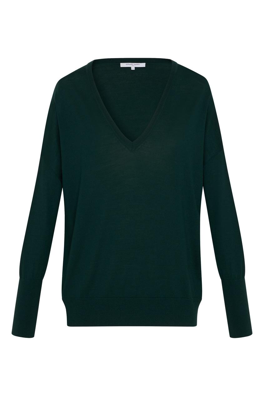 Зеленый шерстяной пуловер