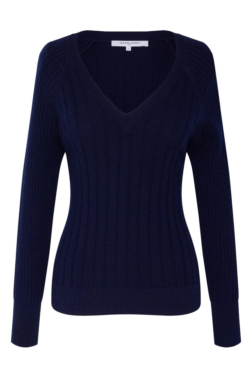Темно-синий шерстяной пуловер