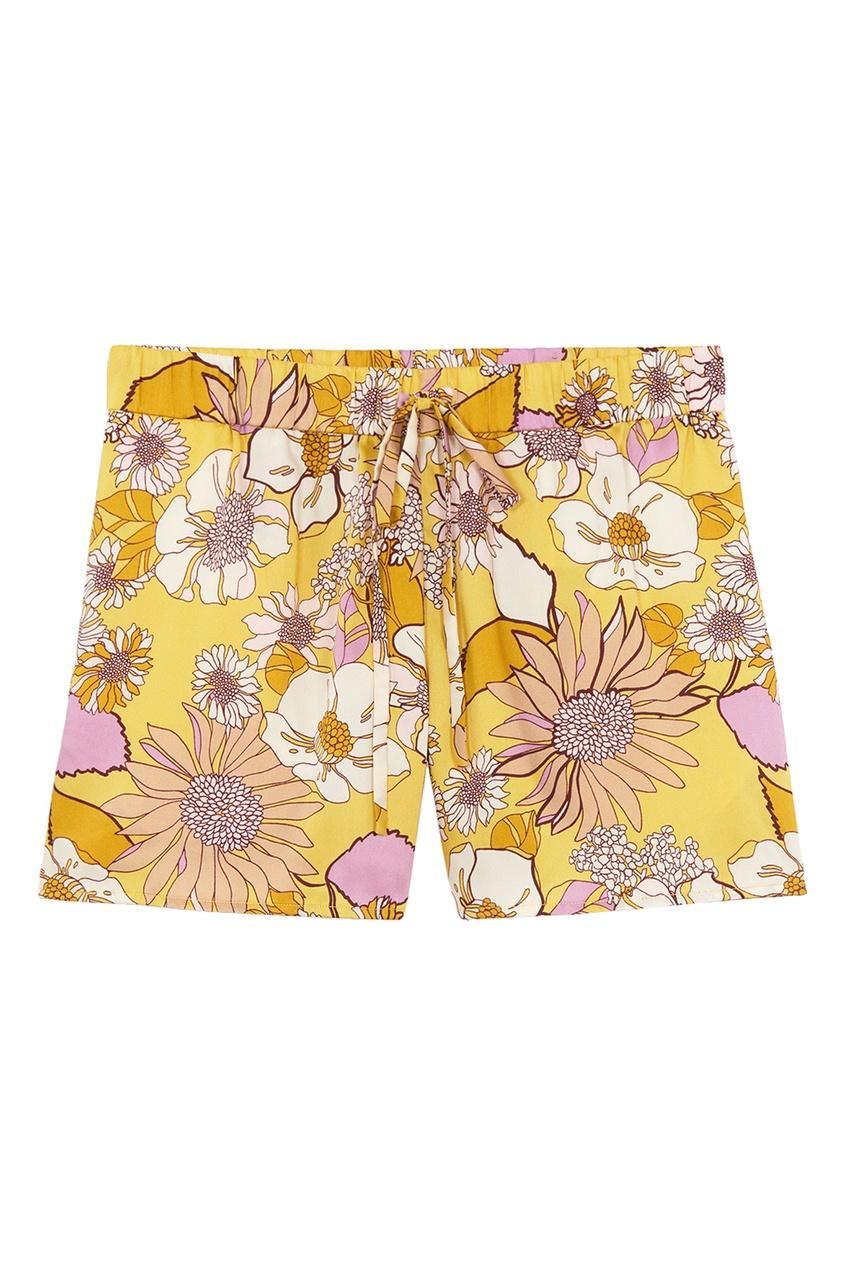 Желтые шорты с цветочным принтом Sandro цвет желтый/сиреневый