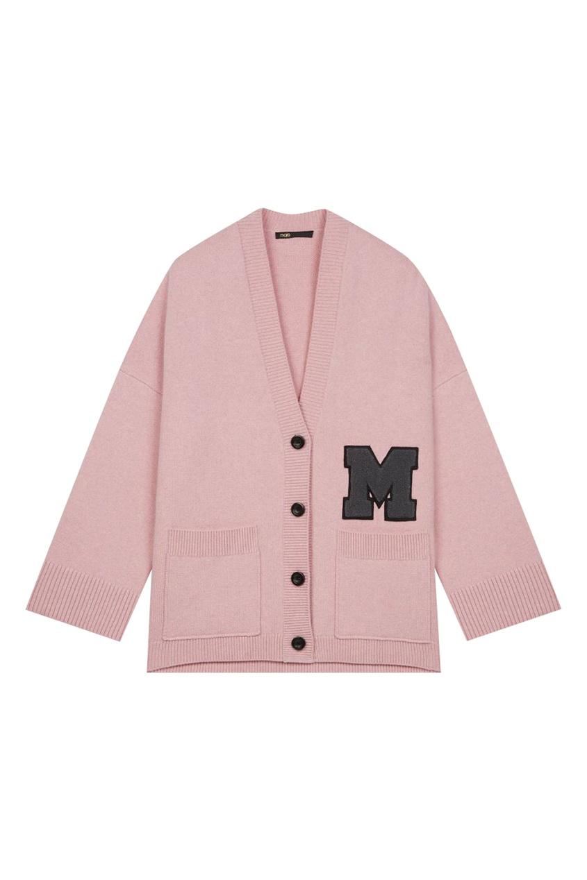 Розовый кардиган с накладными карманами