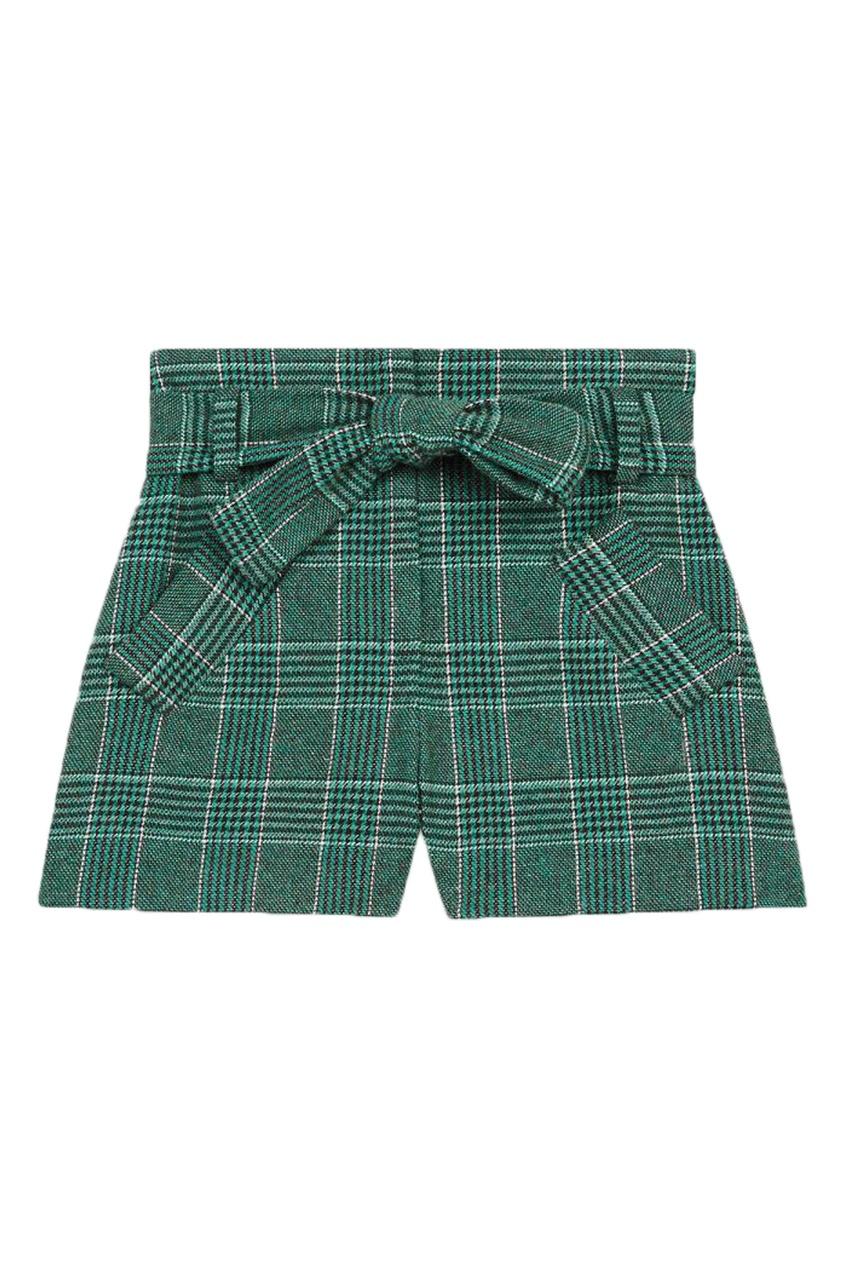 Зеленые клетчатые шорты Maje зеленого цвета