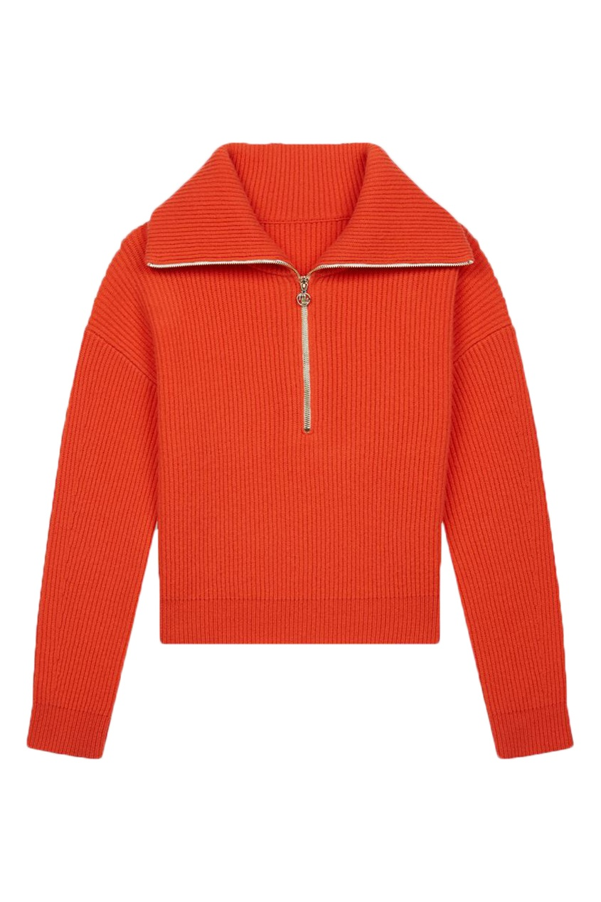 Оранжевый свитер на молнии