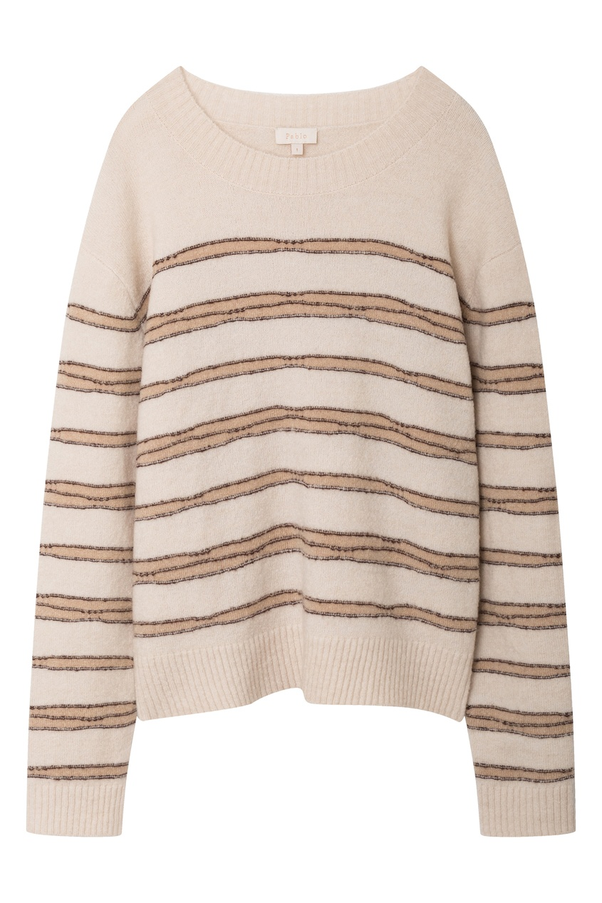 Бежево-розовый полосатый свитер
