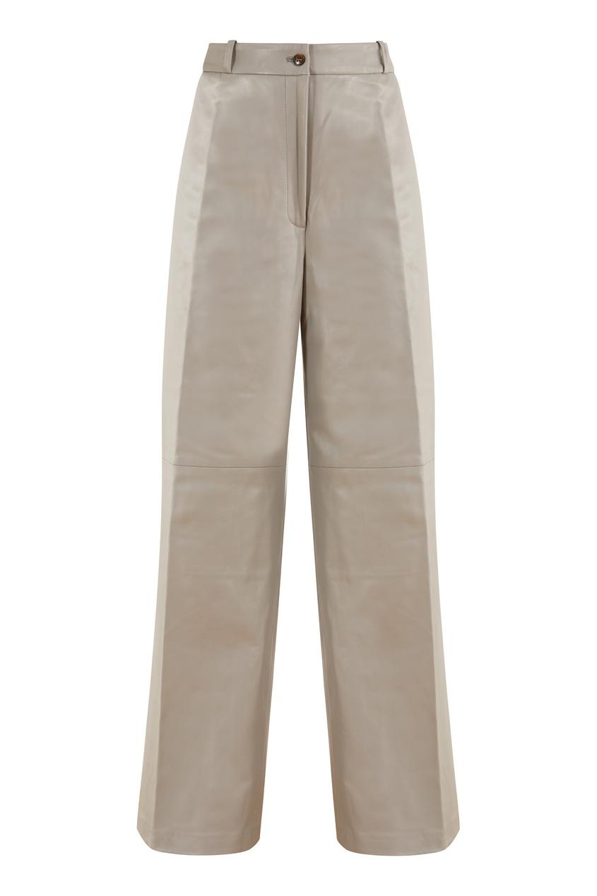Серые кожаные брюки Noro