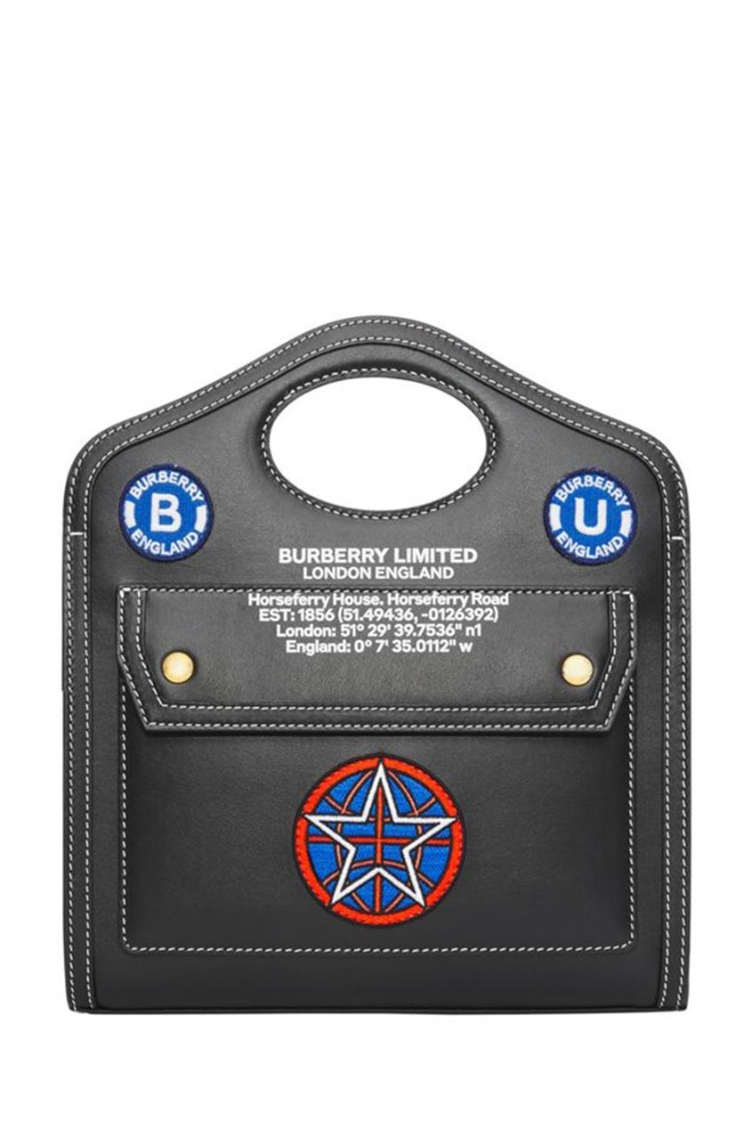 Черная миниатюрная сумка с аппликациями Pocket
