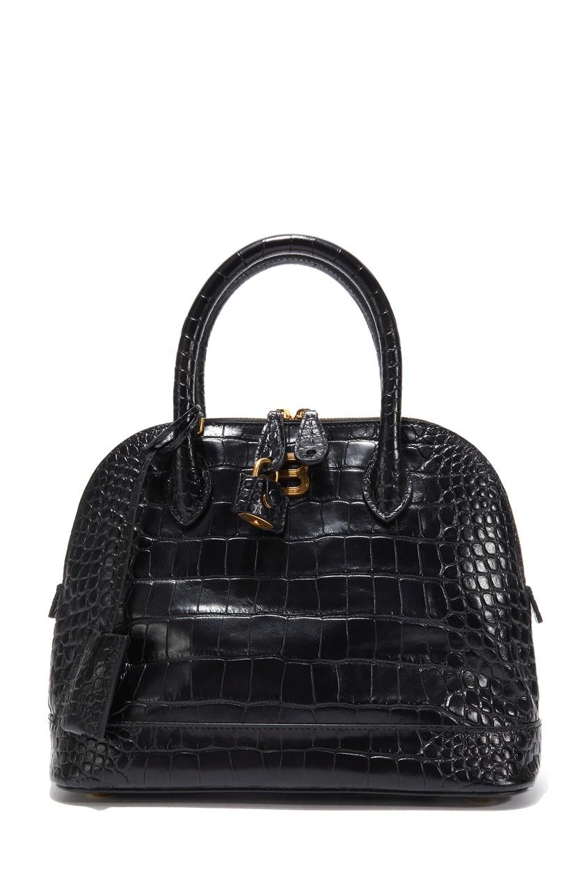 Черная сумка с тиснением под кожу рептилии