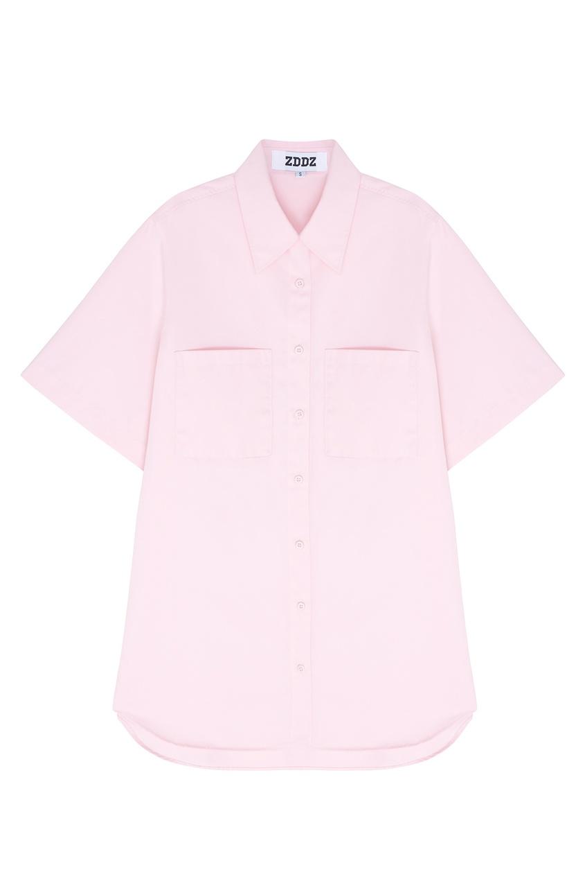 Фото - Однотонная рубашка от ZDDZ розового цвета