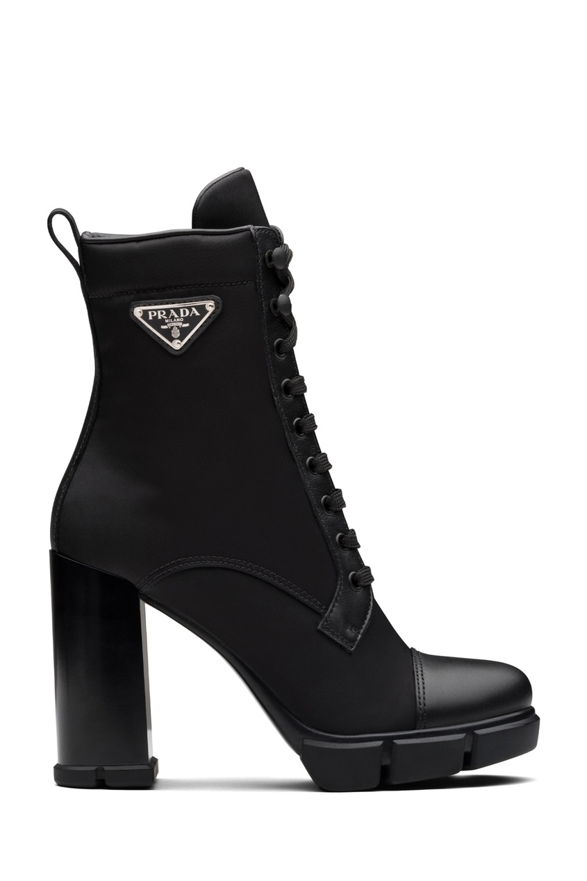 Комбинированные черные полусапоги со шнуровкой