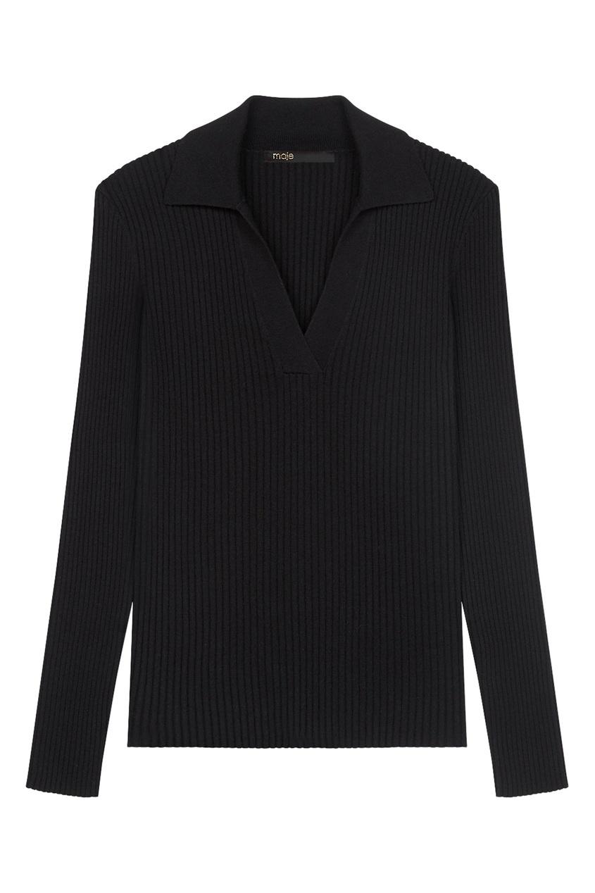 Черный пуловер с воротником