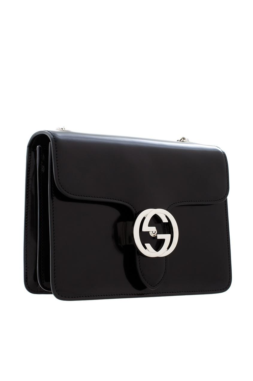 Фото 4 - Сумку из глянцевой кожи от Gucci черного цвета