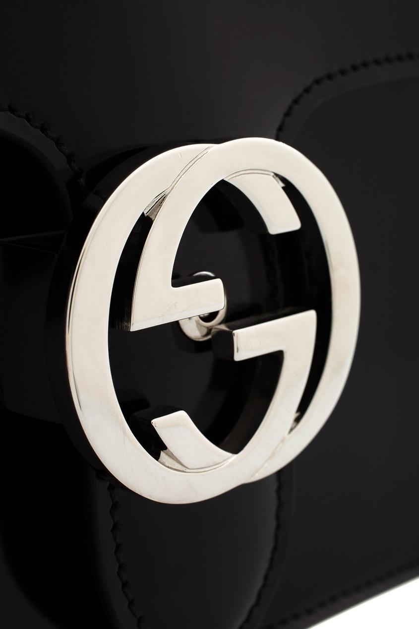 Фото 6 - Сумку из глянцевой кожи от Gucci черного цвета