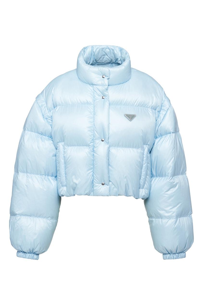 Укороченная дутая куртка голубого цвета