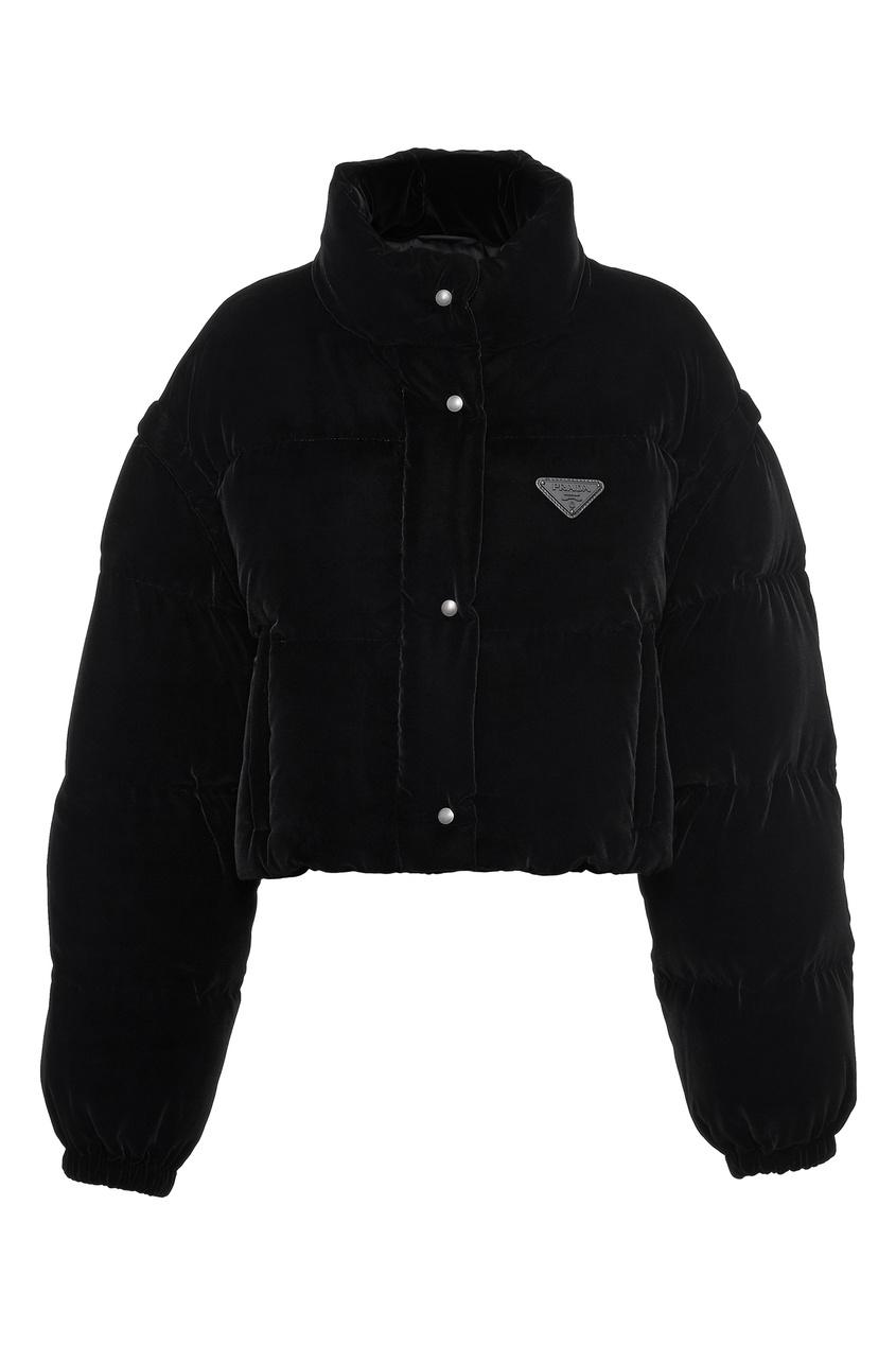 Укороченная дутая куртка черного цвета