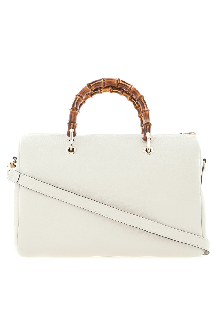 Фото 3 - Кожаная сумка Bamboo Shopper от Gucci белого цвета