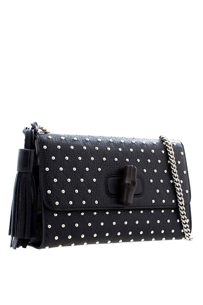 Фото 2 - Кожаная сумка Miss Bamboo от Gucci черного цвета