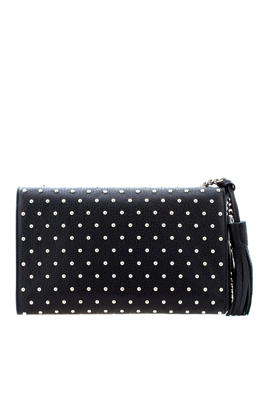 Фото 4 - Кожаная сумка Miss Bamboo от Gucci черного цвета