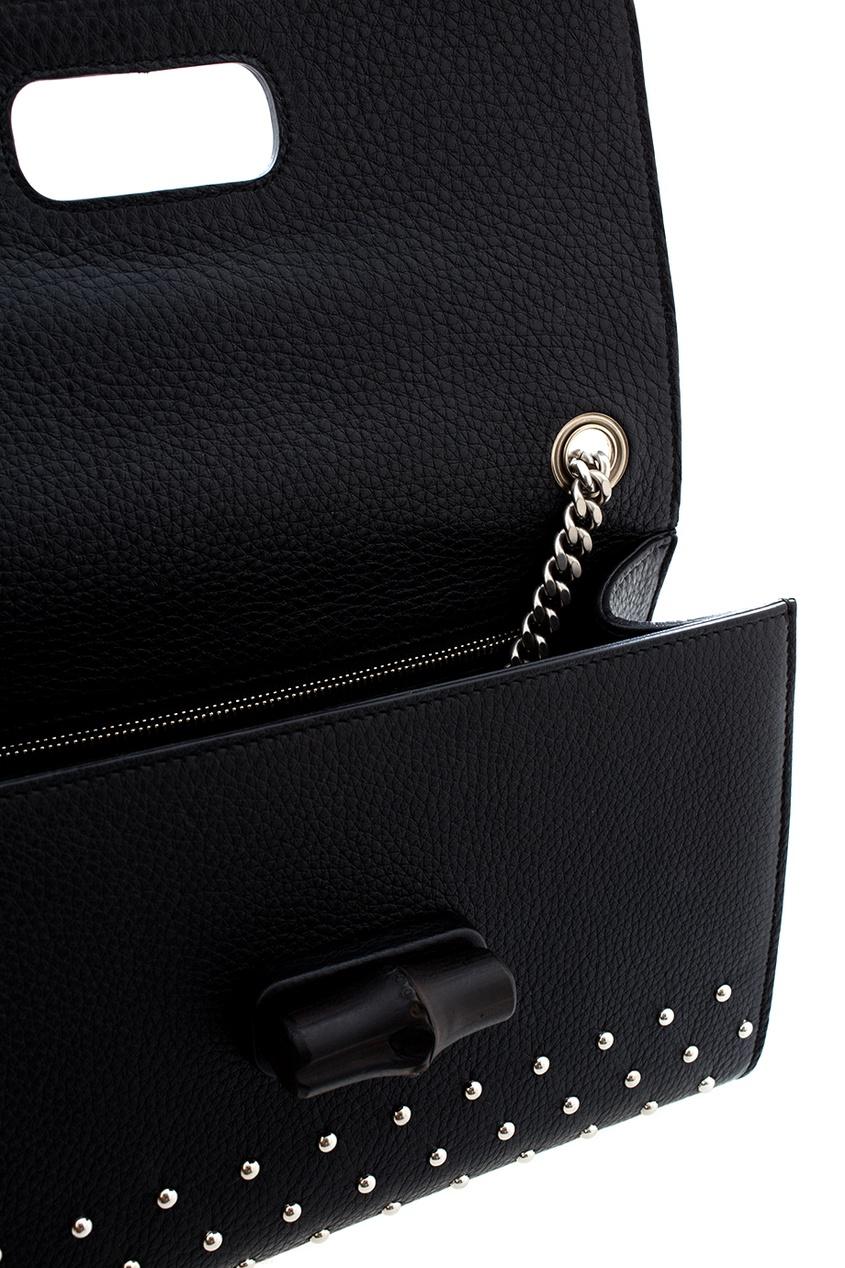Фото 5 - Кожаная сумка Miss Bamboo от Gucci черного цвета